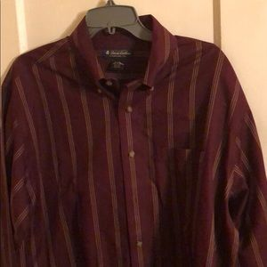 Brooks Brothers Burgundy Striped Long Sleeves